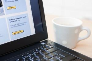 Car insurance on laptop